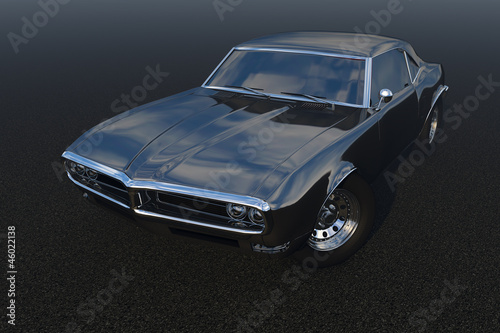 Black muscle car Render