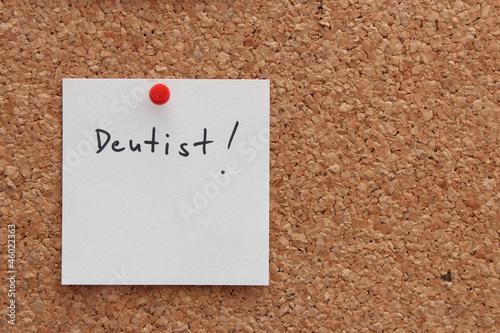 Notiz auf Pinnwand