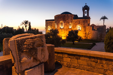 Old church and archaeological finds at sunset in Sidon, Lebanon