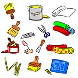 cartoon drawings of DIY tools for decorating and renovating poster