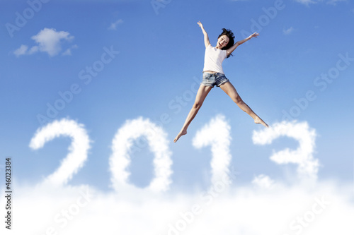 Happy New Year 2013 jump in the sky