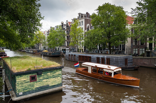 Traditional houseboats in Amsterdam