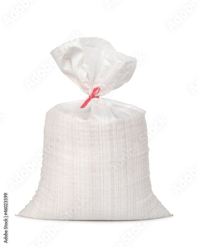 White canvas sack with full paddy isolated on white background