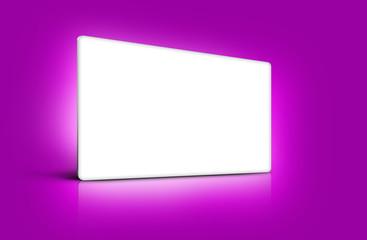 Panneau de présentation blanc sur fond violet rose