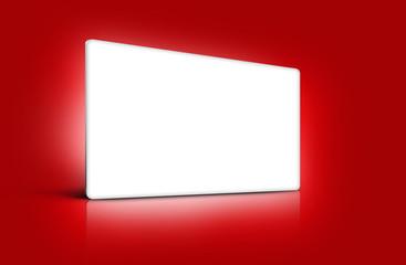Panneau de présentation blanc sur fond rouge