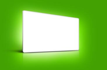 Panneau de présentation blanc sur fond vert