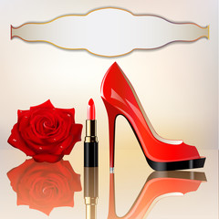 background for the message with lipstick a shoe and a rose