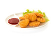 Plate of nuggets with dip sauce