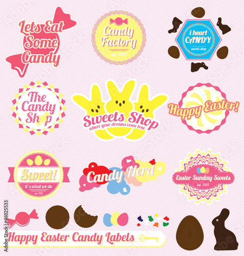 Vector Set: Vintage Easter Candy Labels and Icons
