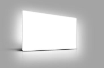 Panneau de présentation blanc sur fond gris