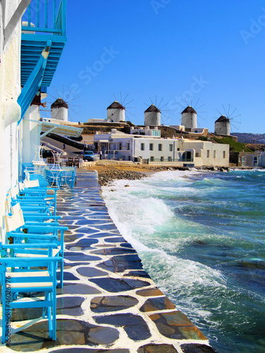 View of the famous windmills of Mykonos town, Greece