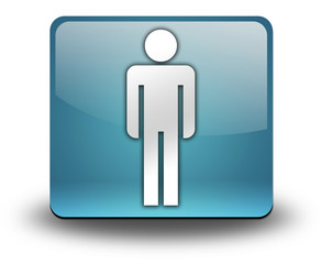 "Light Blue 3D Effect Icon ""Men's Restroom"""