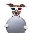 movie film canister 3d glasses dog