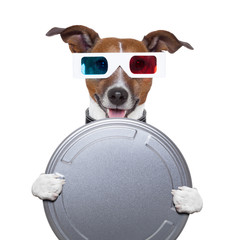 movie film canister 3d glasses dog