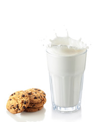 splash of milk glass with cookies