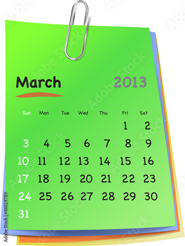 Calendar for march 2013 on colorful sticky notes