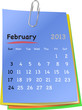 Calendar for february 2013 on colorful sticky notes