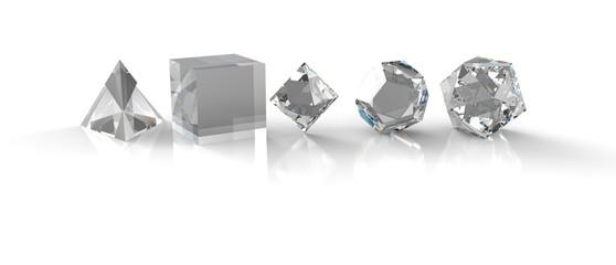 3D Diamanten - Platonische Körper der heiligen Geometrie