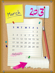 2013 calendar - month March - cork board with notes