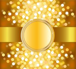 Carte or avec ruban et médaillon