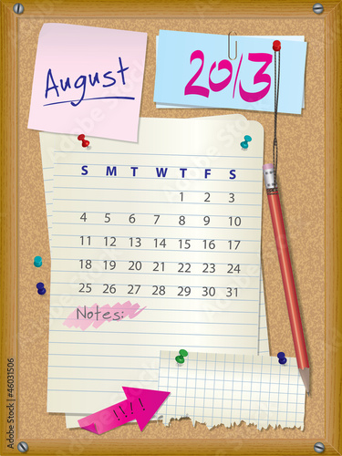 2013 calendar - month August - cork board with notes