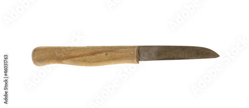 Old wooden knife, isolated