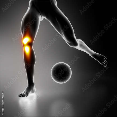 Football player injured knee joint