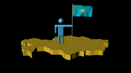 man with fluttering flag on Kazakhstan map animation