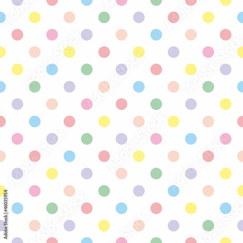 Poster Seamless vector pattern background pastel colorful polka dots