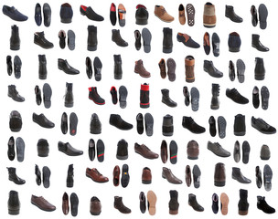 88 pairs of male footwear over white background