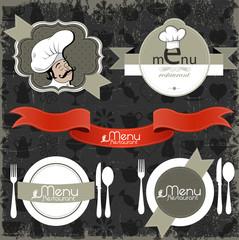 Restaurant menu and background design collection