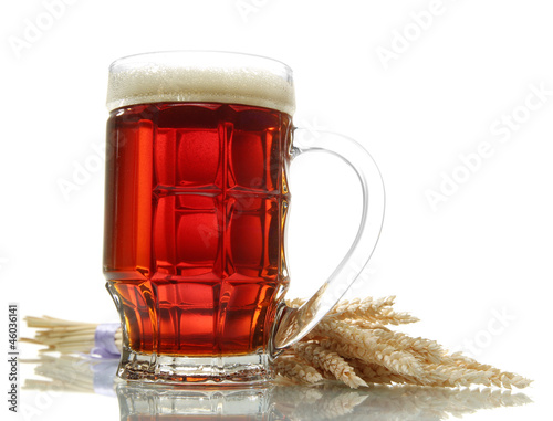 tankard of kvass with ears, isolated on white
