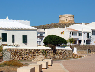 Fornells with the Martello Tower in the background, Menorca