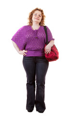 fat unsightly woman with bag