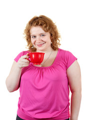 ugly woman with cup