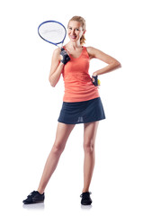 Woman playing tennis on white