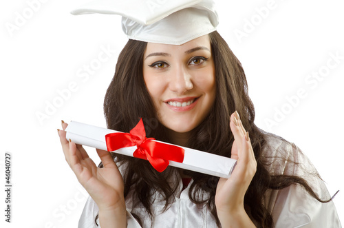 Happy student celebrating graduation on white