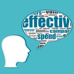 Social media business people talk in speech bubbles