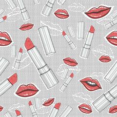 Lips and lipsticks beauty seamless pattern