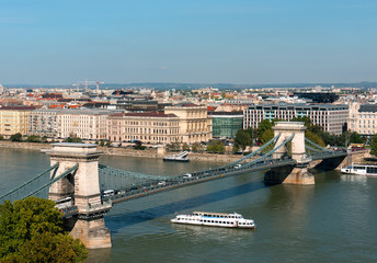 Budapest, Chain bridge with tourist boat