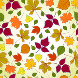 seamless pattern with yellow, green, orange and violet leaves