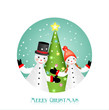 christmas greeting card with two figurines and christmas tree