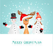 christmas greeting card with two figurines and funny reindeer