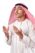 Arab man praying on white