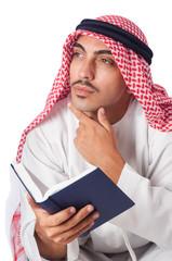Arab man praying on white