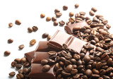 chocolate and coffee beans on white background