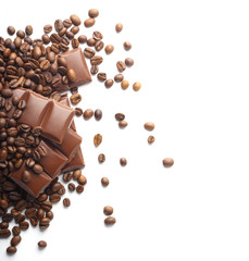 chocolate and coffee beans on white