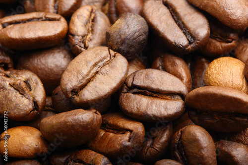macro shot of roasted coffee beans