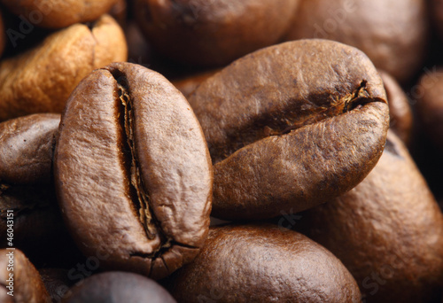 two rosted coffee beans extreme macro shot