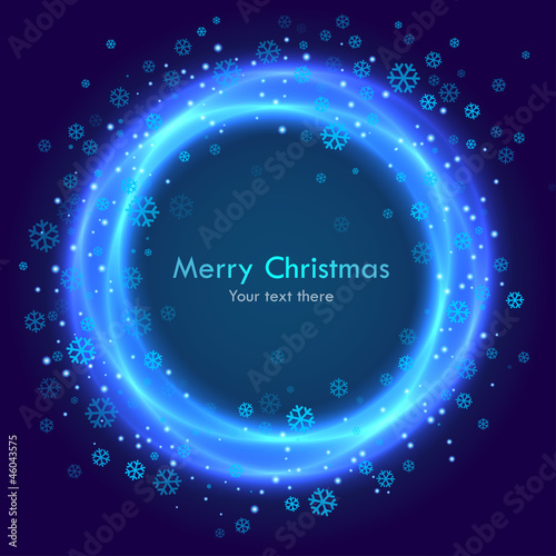 Abstract christmas blue background with  snowflakes